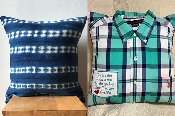 Almofadas com camisas antigas